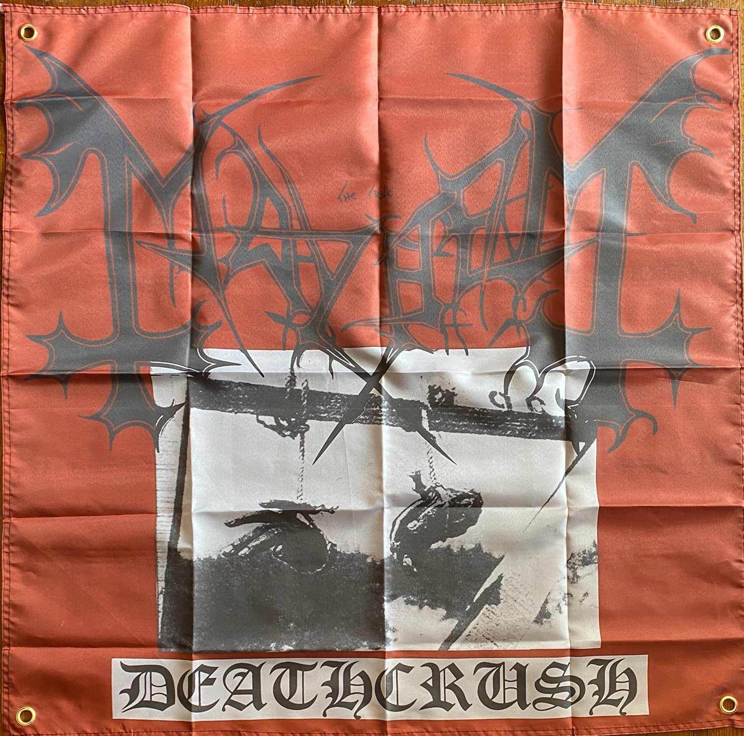 "Image of Mayhem  "" Deathcrush LP ""  Banner / Tapestry / Flag"