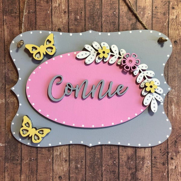 Image of Floral Butterfly Room Plaque