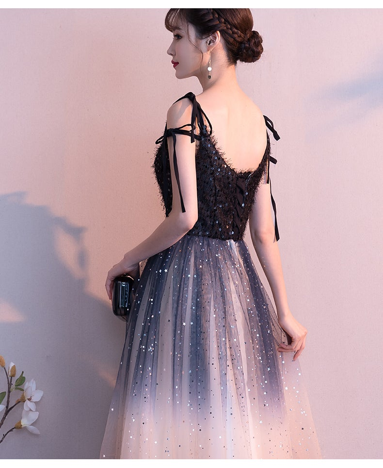 Lovely Tulle Gradient Straps Long Party Dress, A-line Bridesmaid Dress