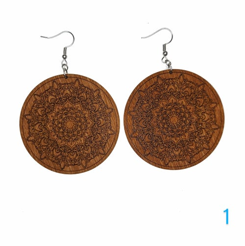 Image of Wooden Mandala Earrings