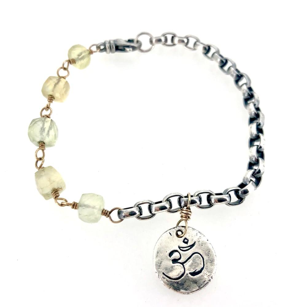 Image of prehnite and sterling silver bracelet . om charm bracelet