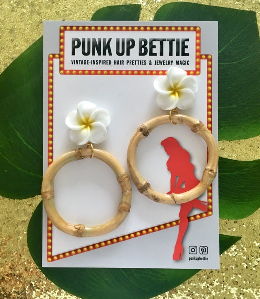 Image of Tiki Bamboo Boogie Hoop Earrings - Yellow - Monster Size Plumeria