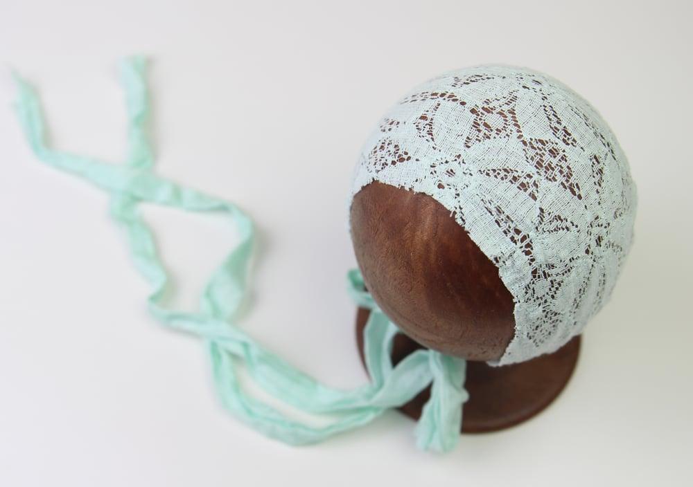 Image of Mint Stretch Lace Newborn Bonnet