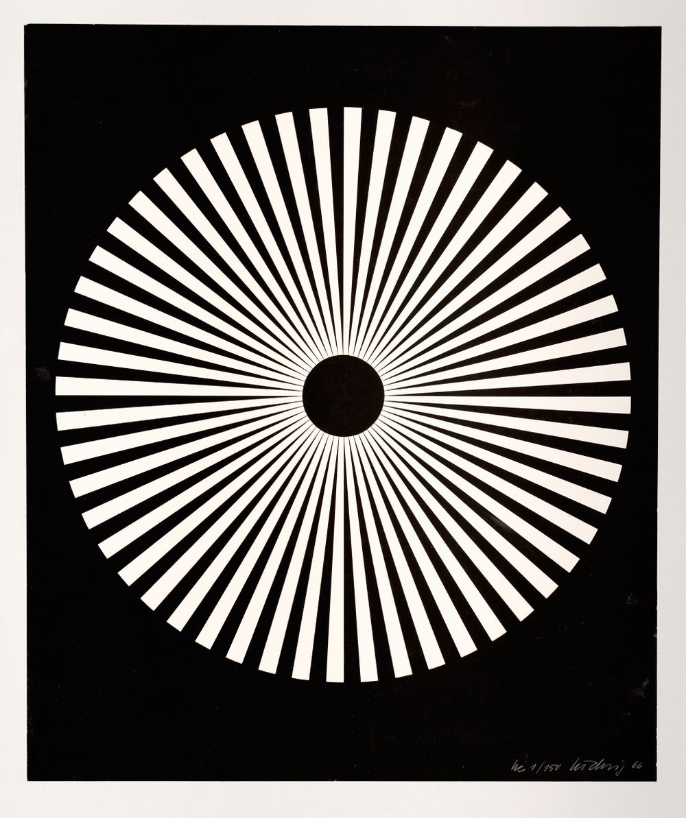 Image of Wolfgang Ludwig 'Kinematische Scheibe', 1 / 150, 1966, white on black