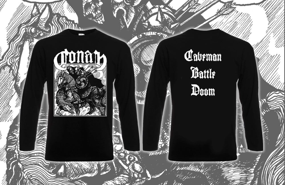 Image of  Old School Horseback Battle Hammer Black Long Sleeve
