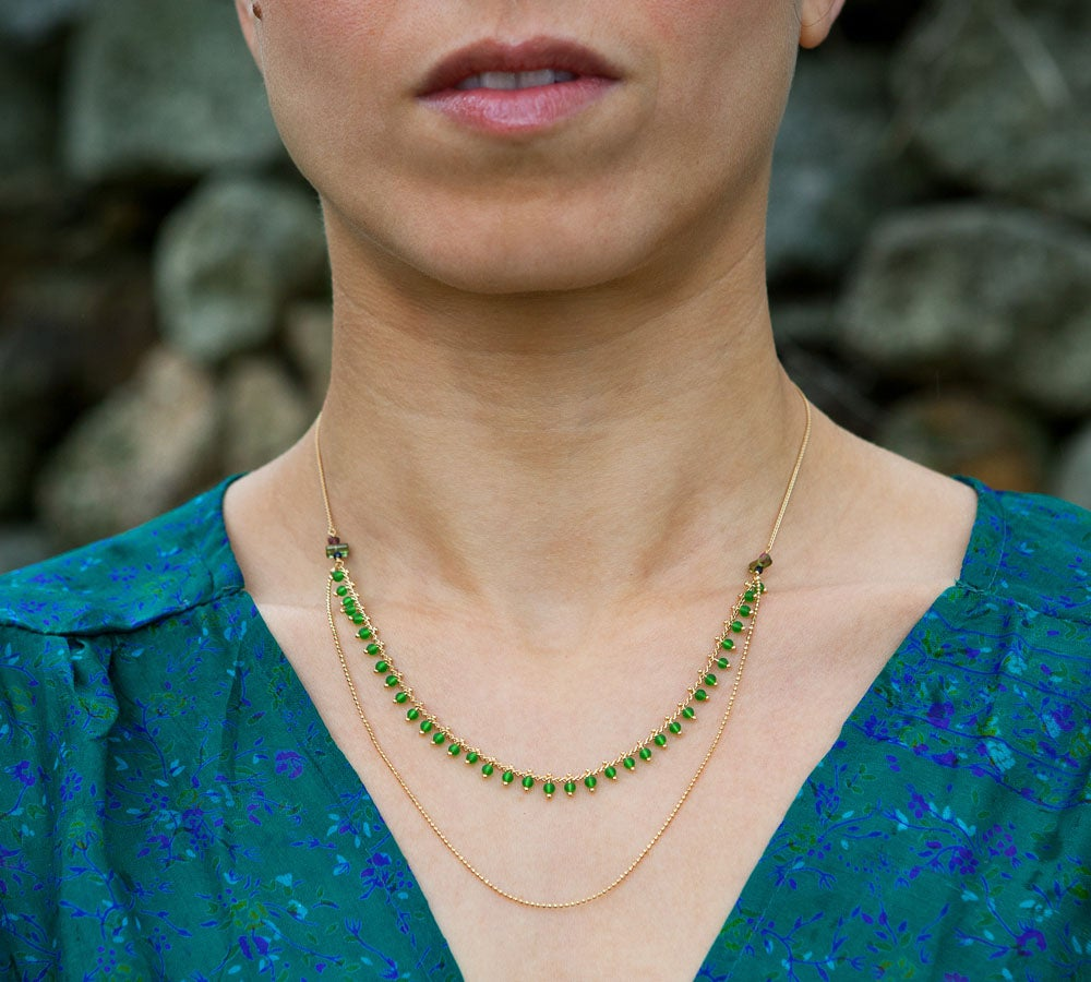 Image of Collier Double India - Vert