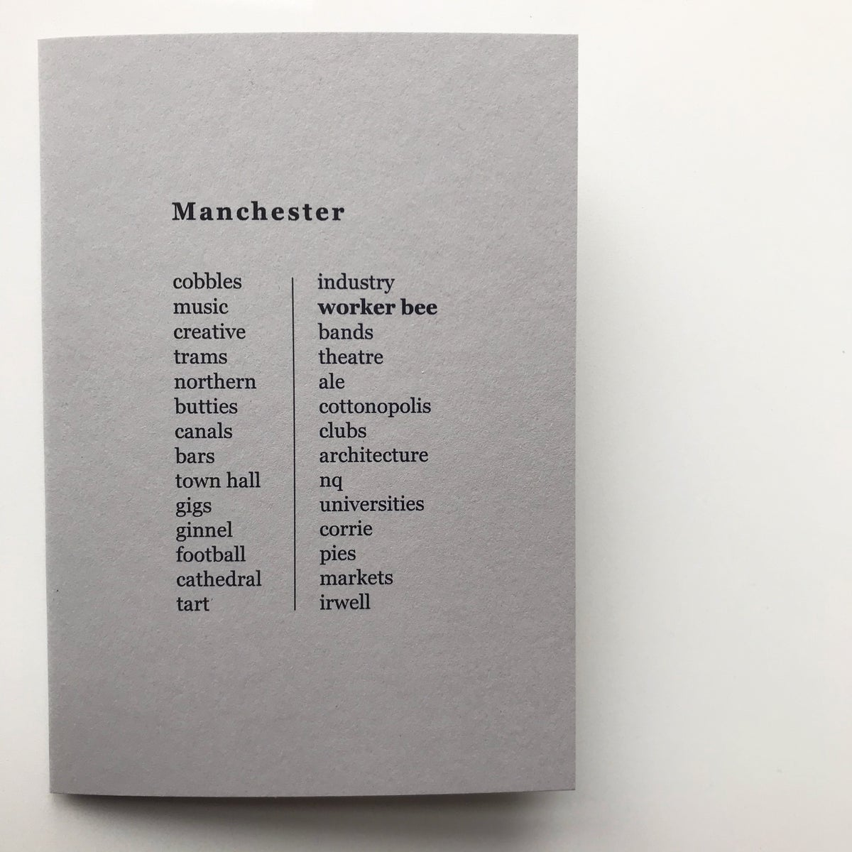 Image of Manchester List Greetings Card