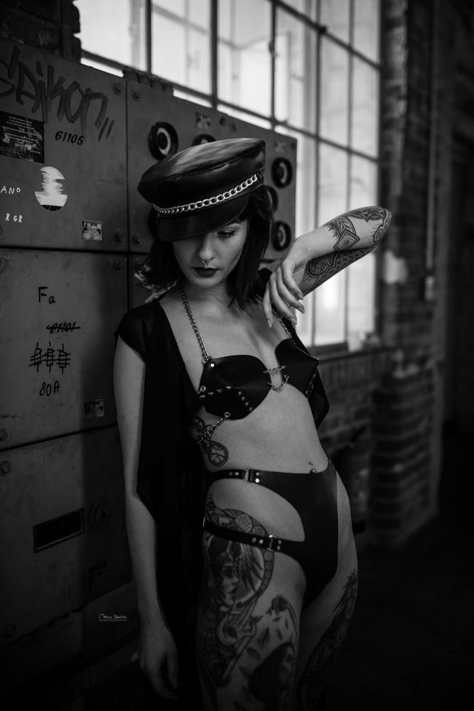 Image of chained up leather BRA