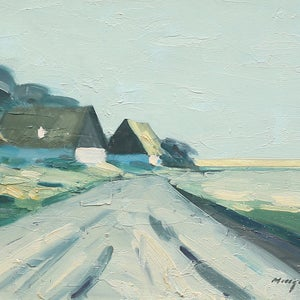 Image of Mid Century Swedish Painting, 'Homestead,' BENGT HILLGRUND