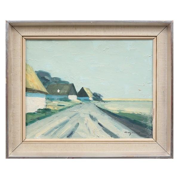 Image of Mid Century Swedish Painting, 'Homestead,' BENGT HILLGRUND