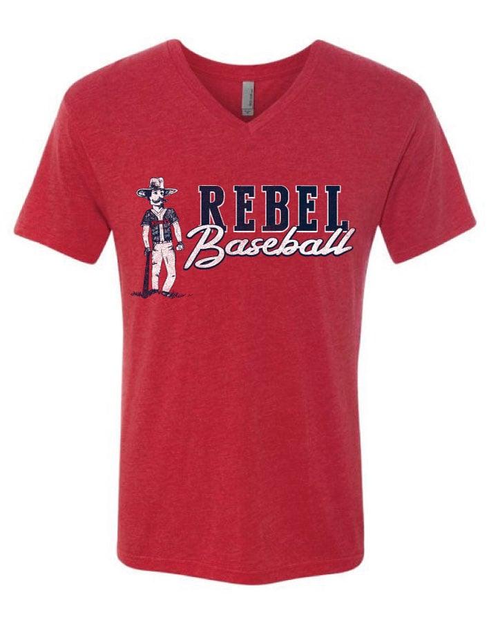 Image of Adult Rebel Baseball V-Neck Tee Pre Order