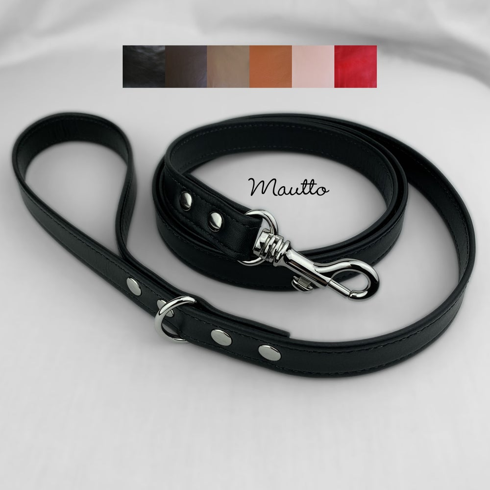Image of Leather Dog Leash for Medium to Large Size Pet - 6 Leather Colors - 4 Lengths (Short to Extra Long)