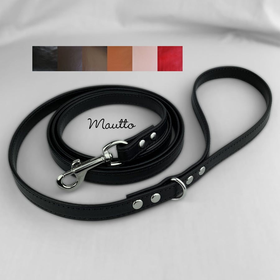 Image of Leather Dog Leash for Small to Medium Size Pet - 6 Leather Colors - 4 Lengths (Short to Extra Long)