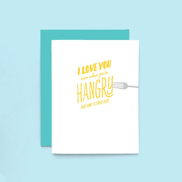 Image of hangry love letterpress card