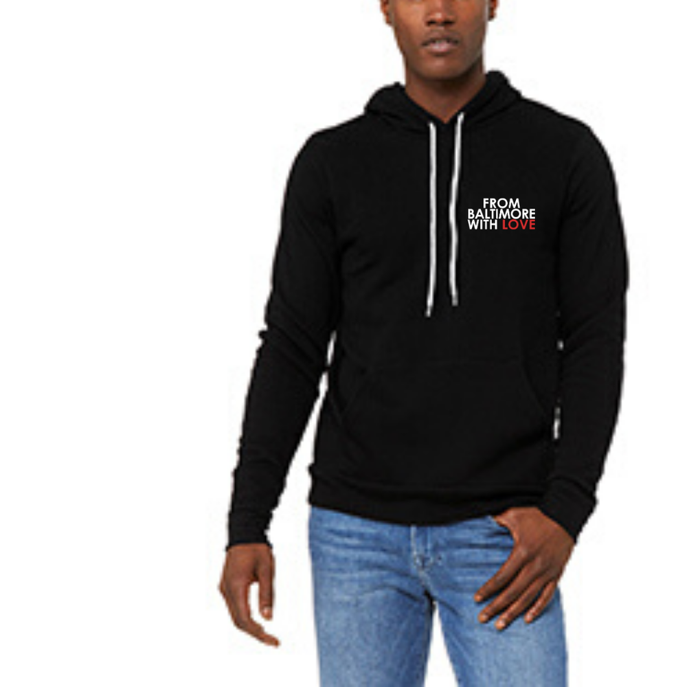 Image of From Baltimore With Love LeftSide Hoodie - Black/Red