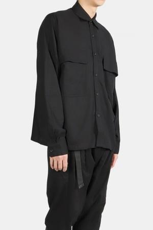 Image of IMMENSE - 麻質雙口袋短版襯衫 (黑)