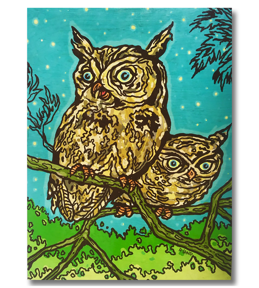 Image of New! Owls print on wood