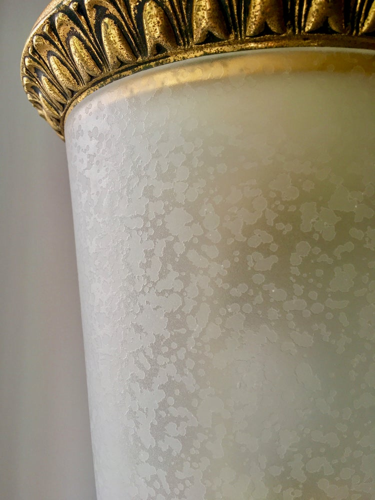 Image of Mid-Century Lantern with Semi-Frosted Glass and Gilt Details by Lumi, Italy