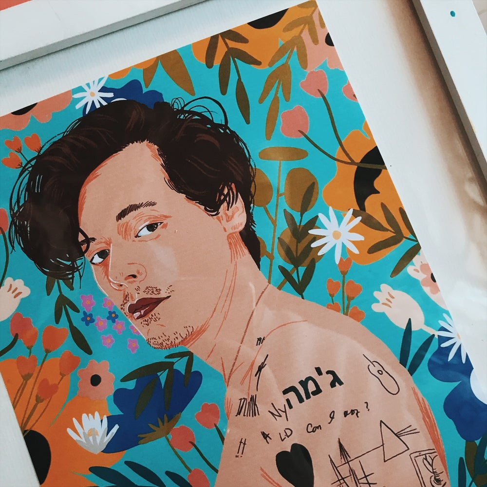 Image of Harry styles floral Rolling Stones print A4