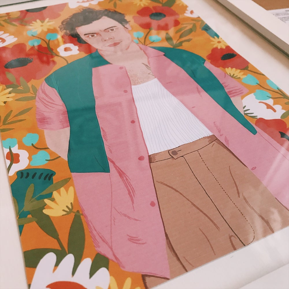 Image of Harry styles floral orange  print A4