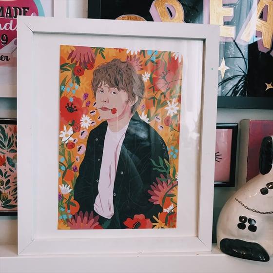 Image of Lewis Capaldi  floral orange  print A4