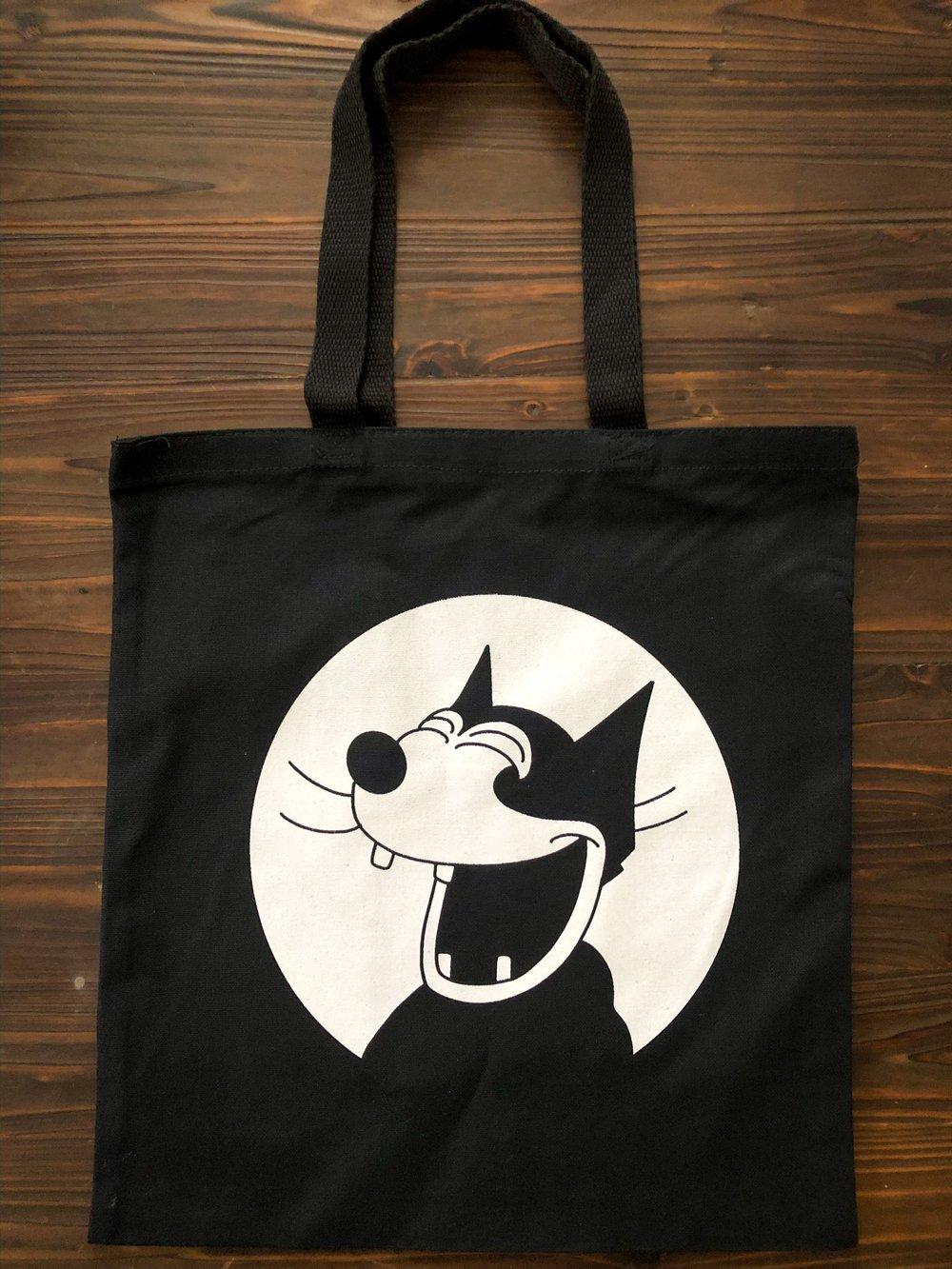 Happy cat canvas tote bag