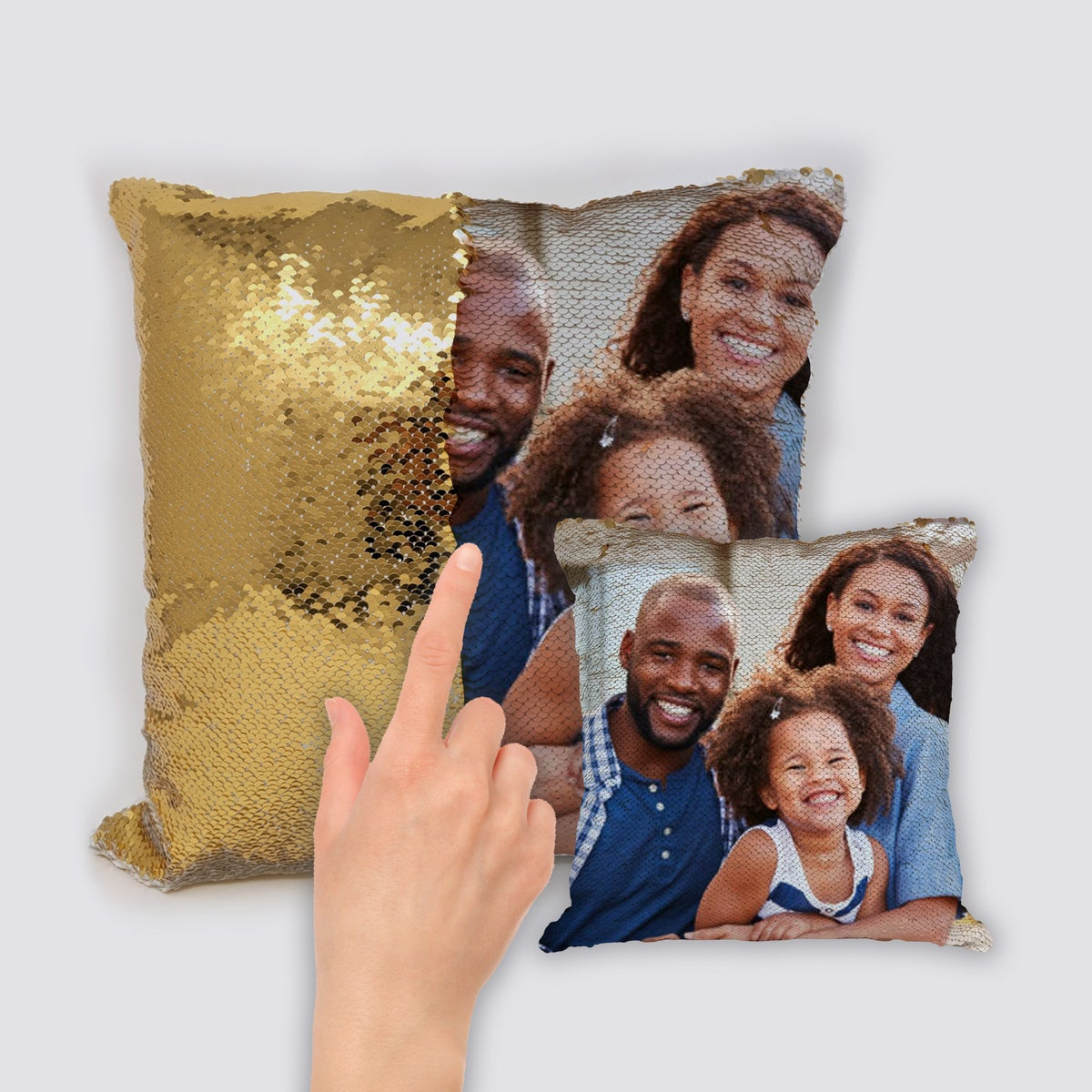 Image of Custom Family photo sequin throw pillow (Reversible)