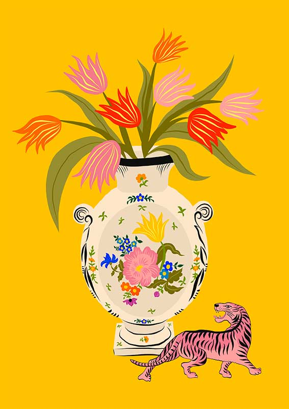 Image of PORCELAIN & TULIPS - A3 print