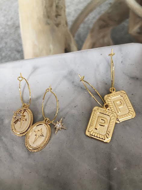 Gold Letter Hoops