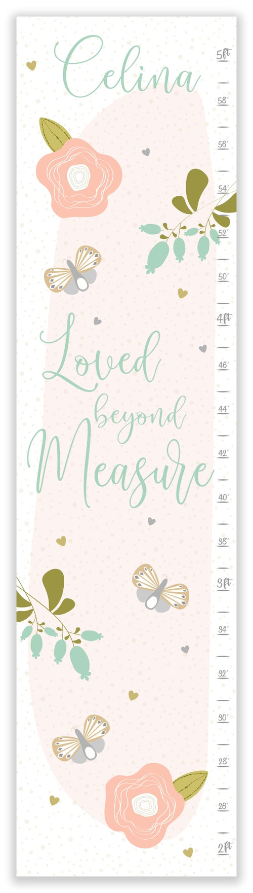 Image of Loved Beyond Measure Personalized Canvas Growth Chart
