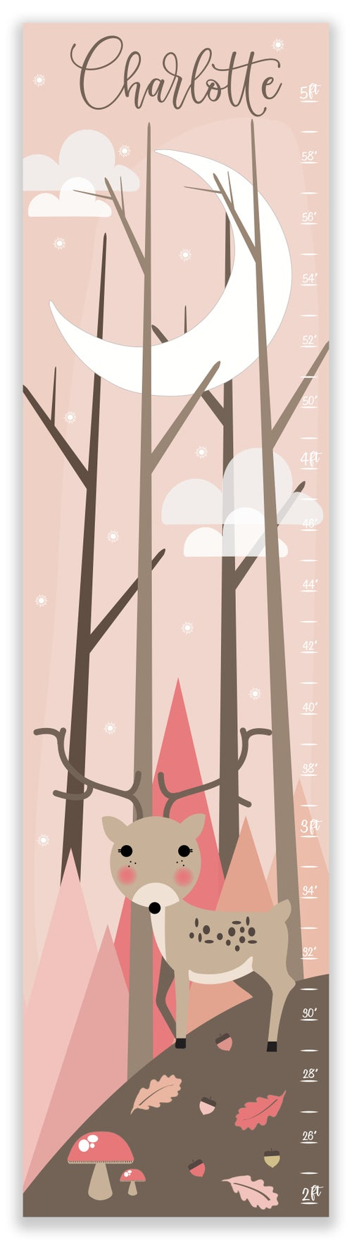 Image of Pink Deer in Woodland Forest Personalized Canvas GRowth Chart