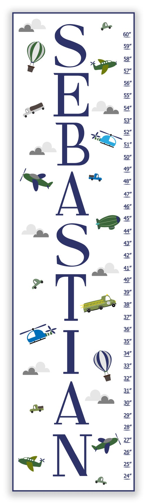 Image of Transportation Themed Personalized Canvas Growth Chart