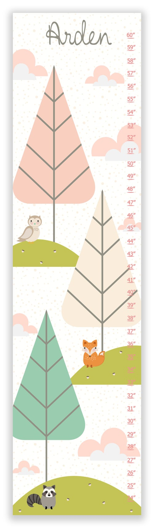 Image of Sweet Forest Friends Blush Pink Personalized Canvas Growth Chart