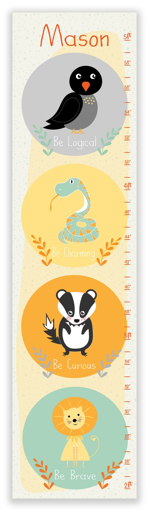 Image of Harry Potter Inspired Animals Personalized Canvas Growth Chart