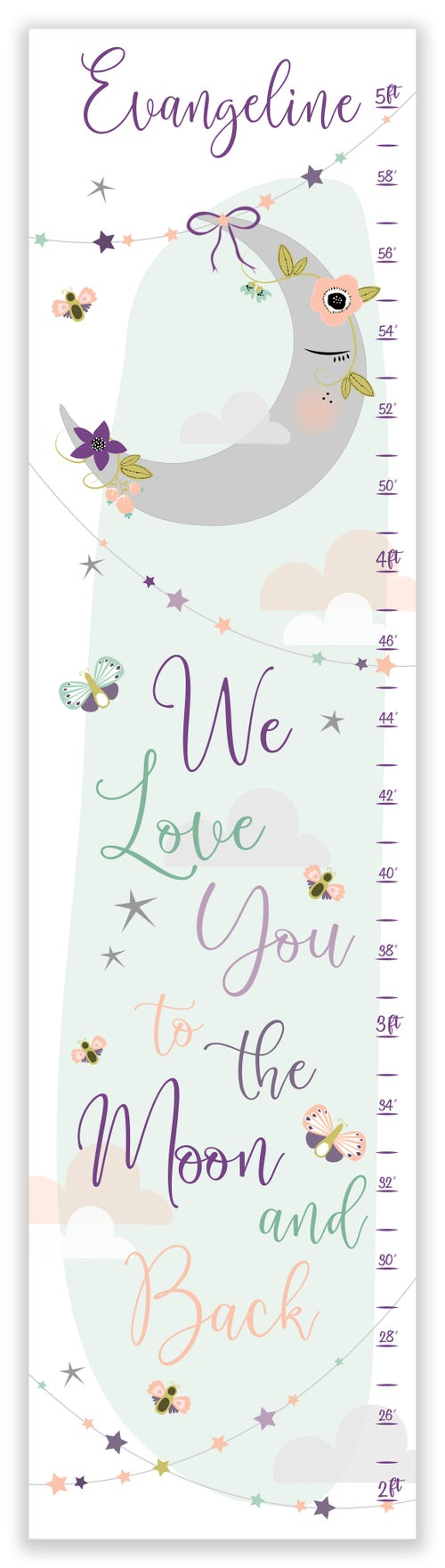 Image of We Love You To The Moon and Back Purple Floral Personalized Canvas Growth Chart