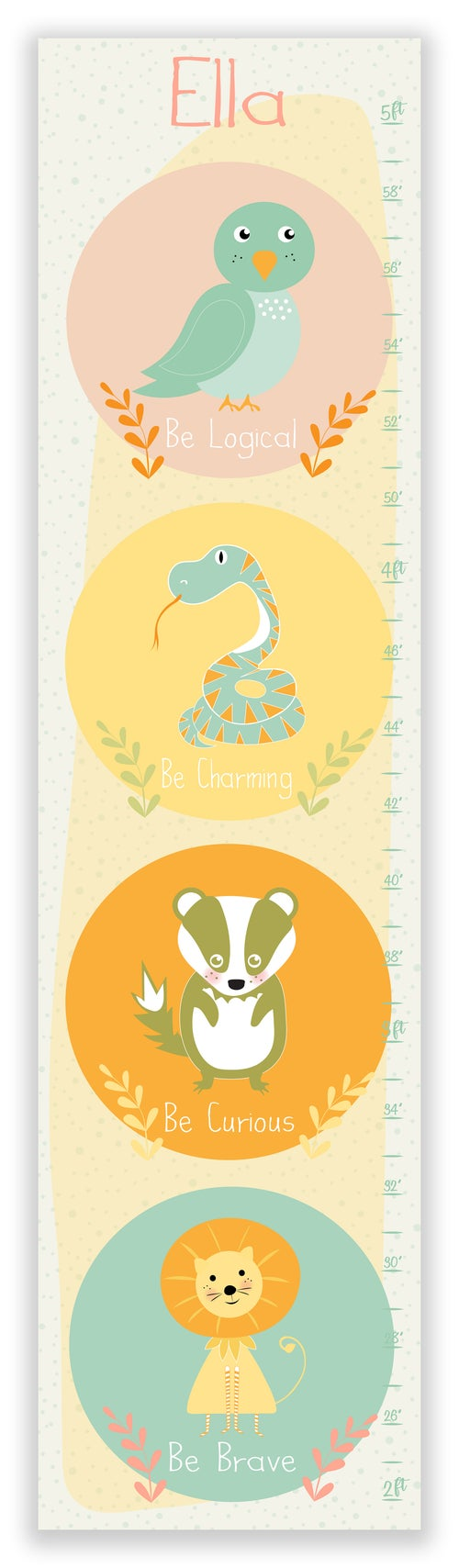 Image of Harry Potter Inspired Animals Girls Personalized Canvas Growth Chart
