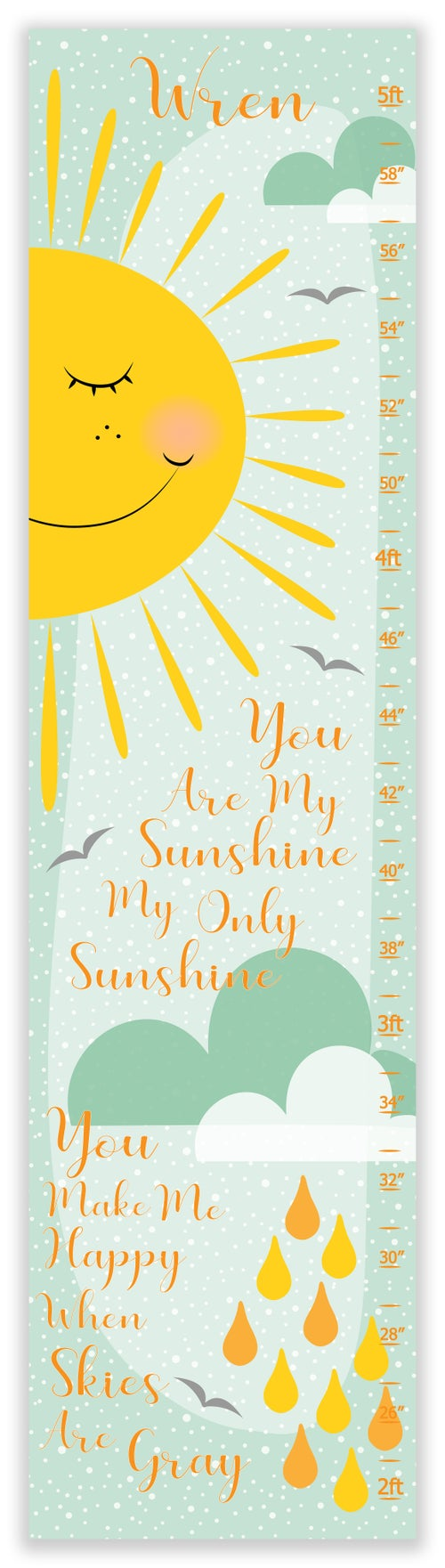 Image of You Are My Sunshine Sun and Cloud Personalized Canvas Growth Chart