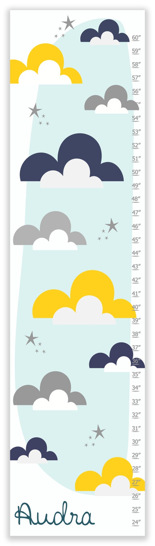 Image of Yellow and Navy Clouds and Stars Personalized Canvas Growth Chart