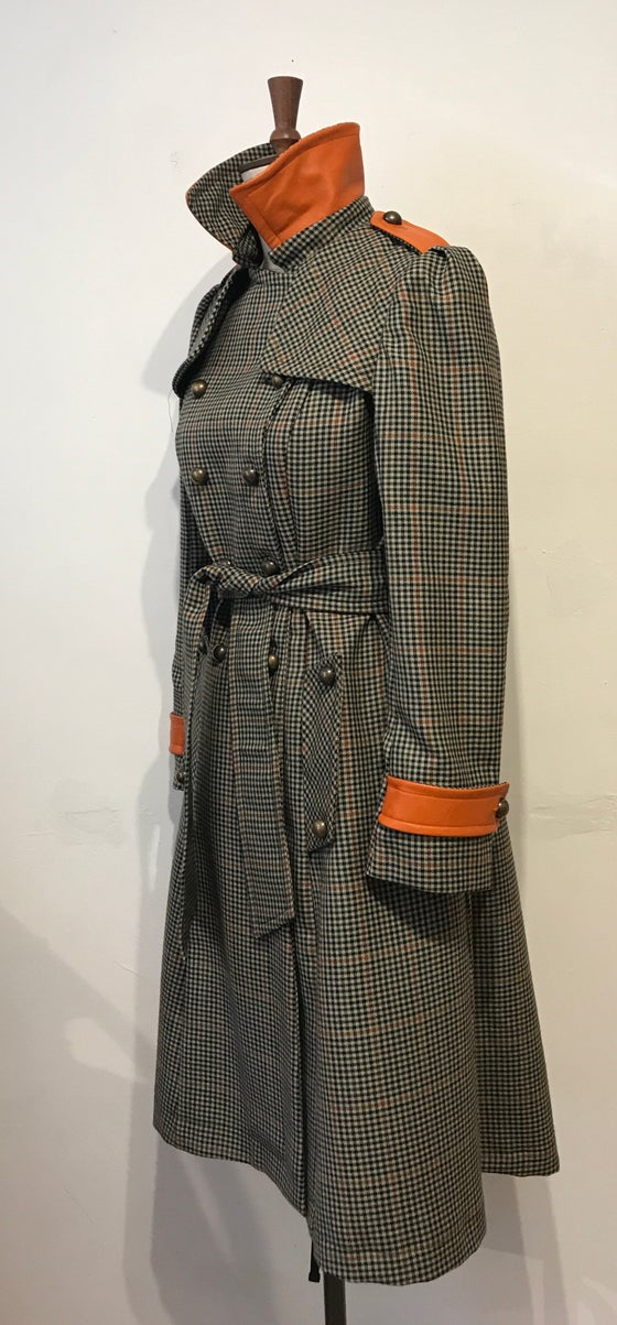 Image of Check and leather military trench coat