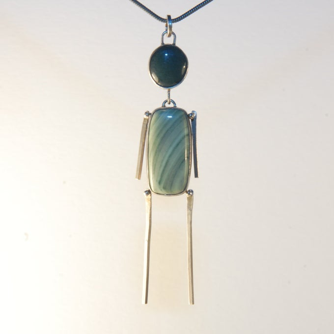 Image of Imperial Jasper & Moss Agate Stick Man Pendant