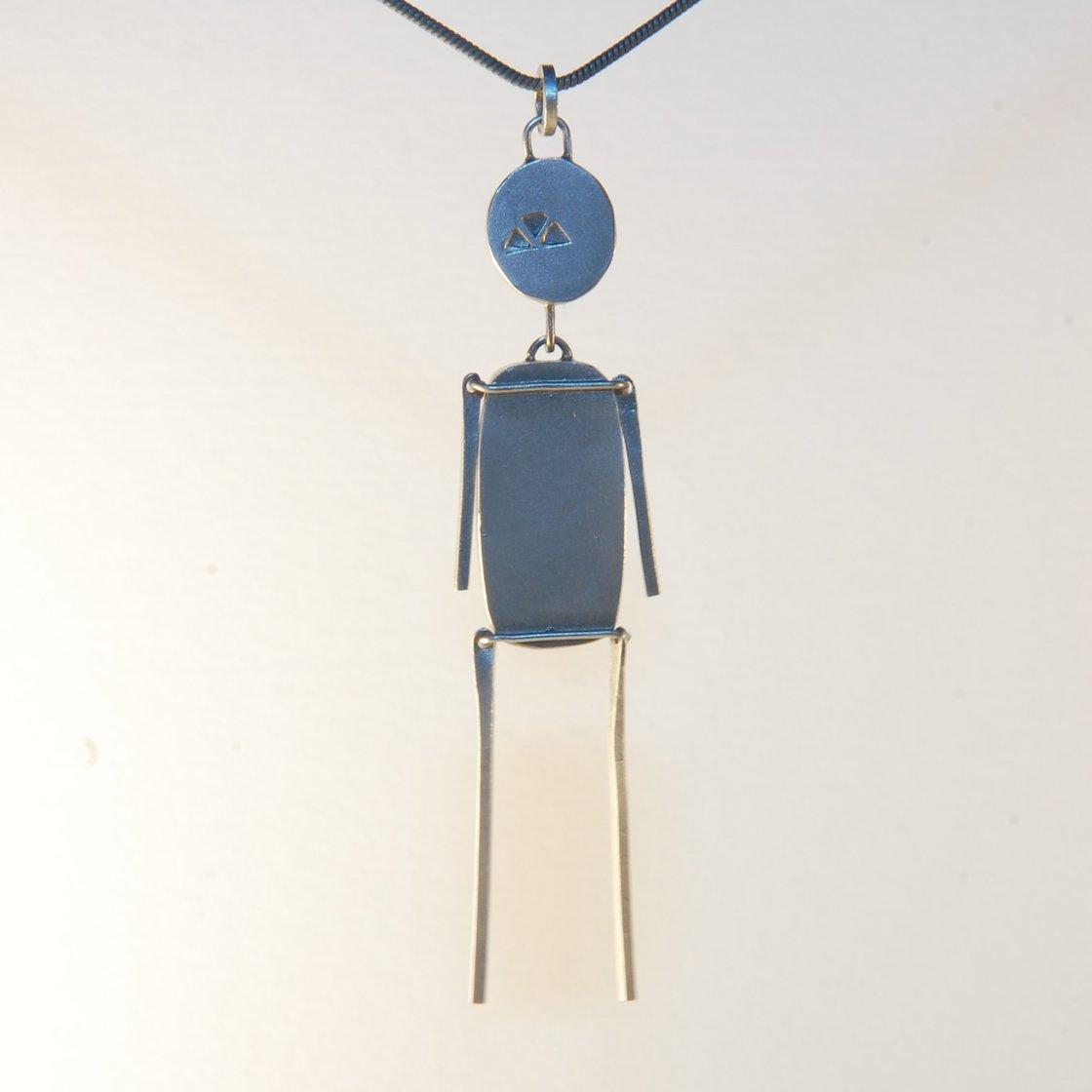 Image of Imperial Jasper & Moss Agate Stick Man Pendant