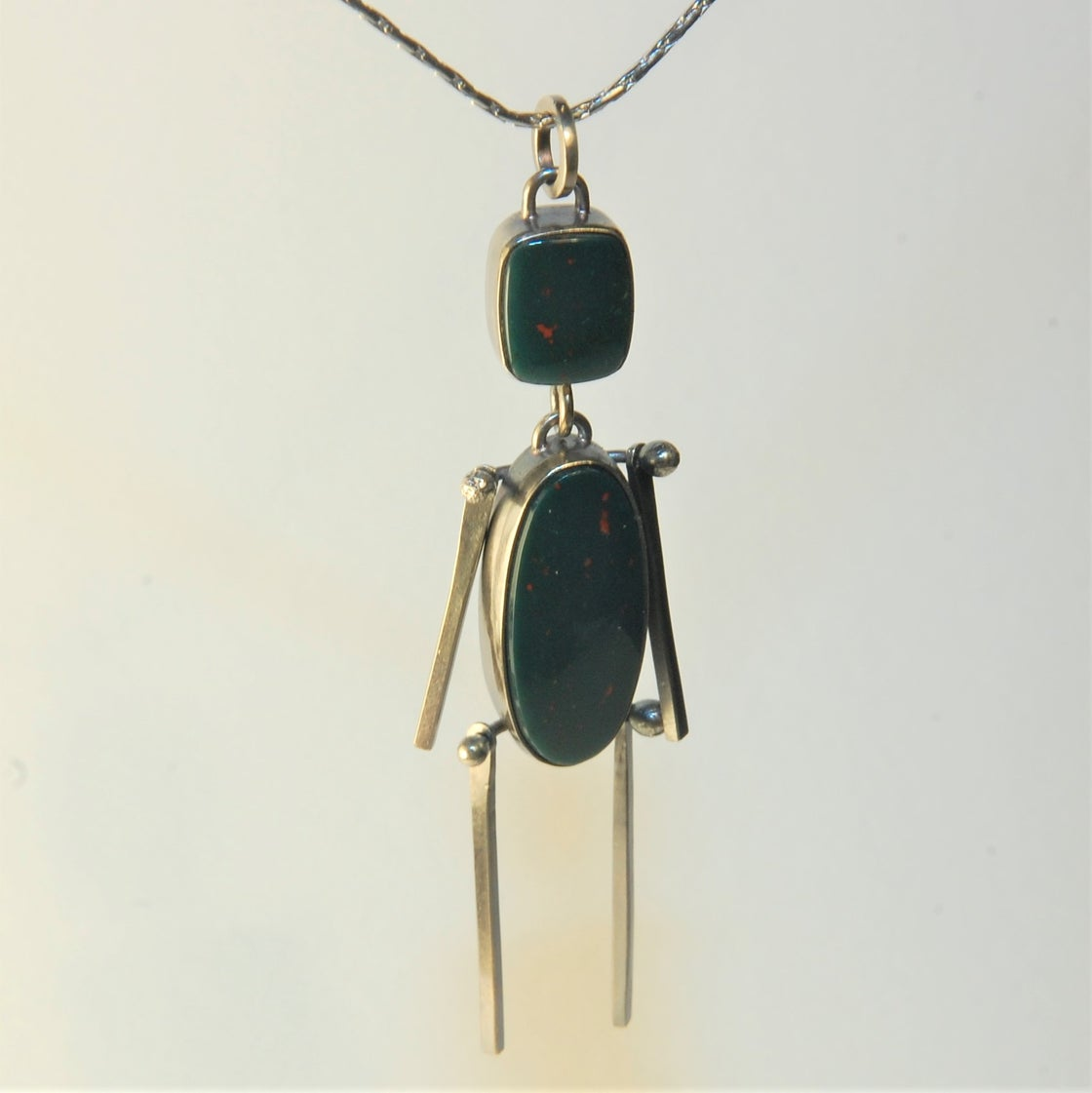 Image of Bloodstone Stick Man Pendant