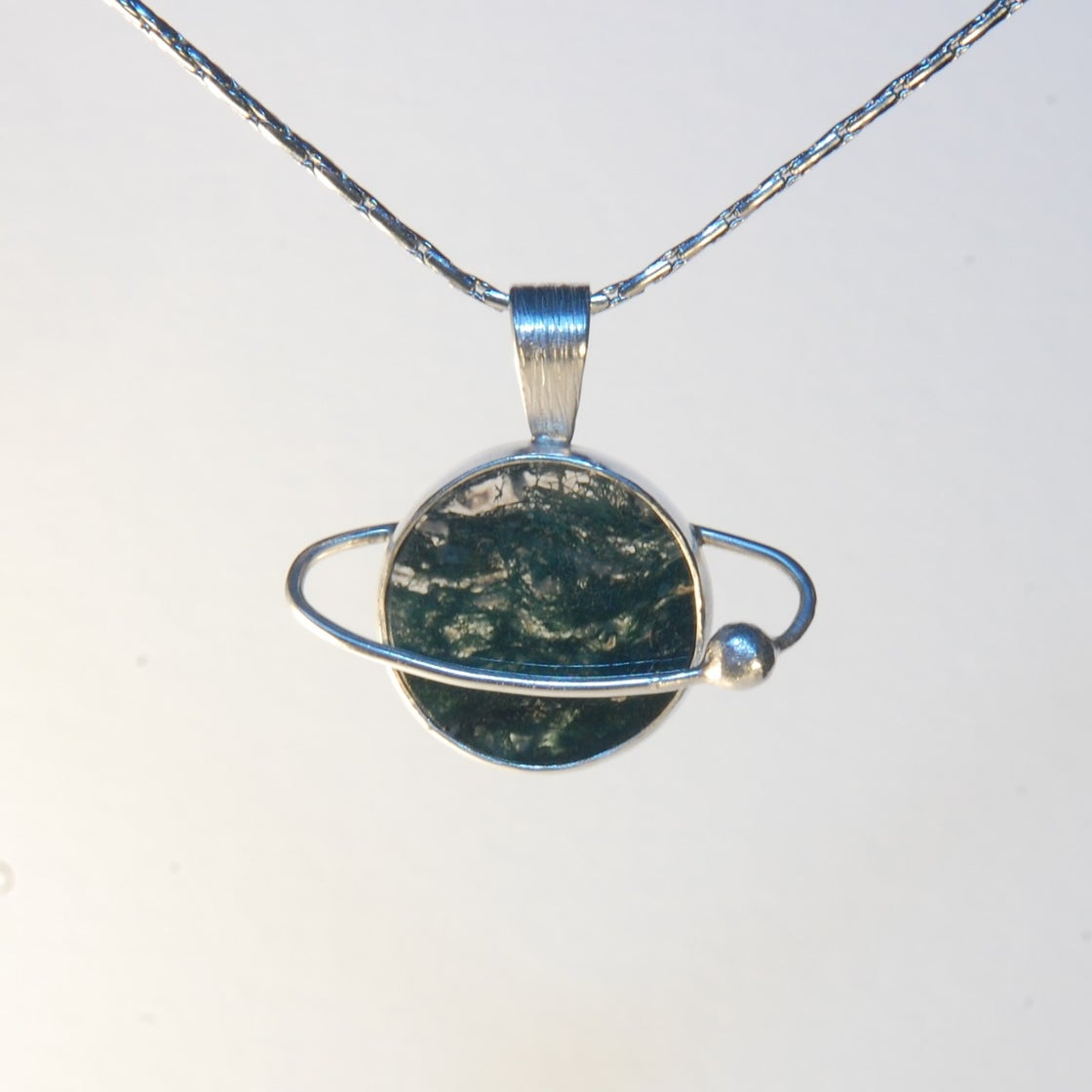 Image of Moss Agate Planet Pendant