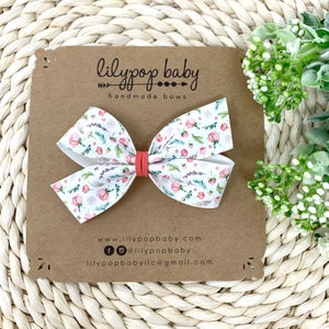 Image of Petite Floral Lily Faux Leather Bow