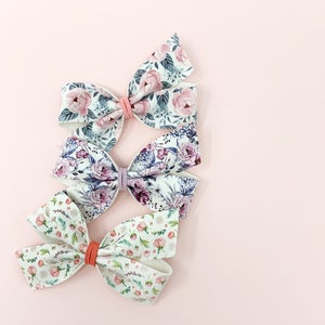 Image of Pink Peonies Lily Faux Leather Bow