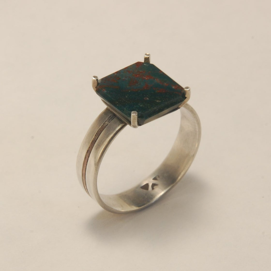 Image of Square Bloodstone Ring size 10 ½