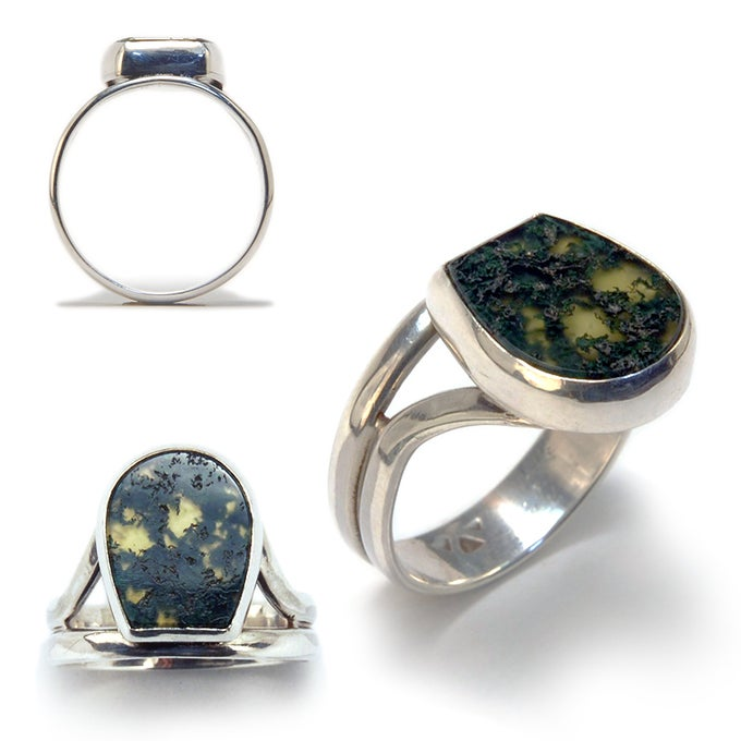 Image of Moss Agate & Enamel Ring size 9