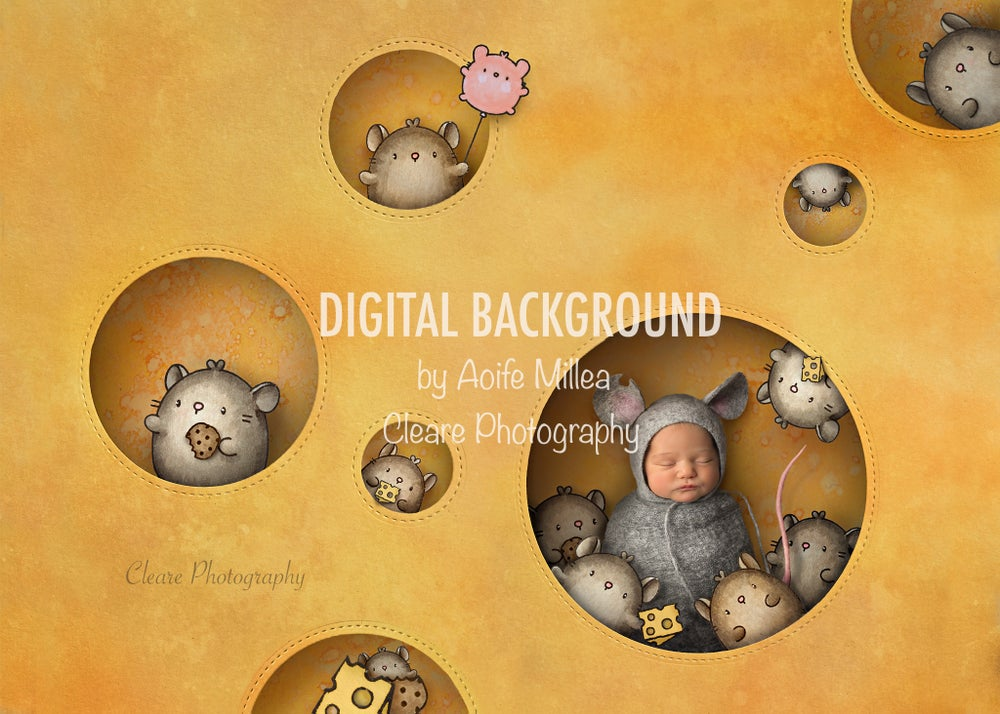 Image of say cheese newborn digital backdrop, with layers