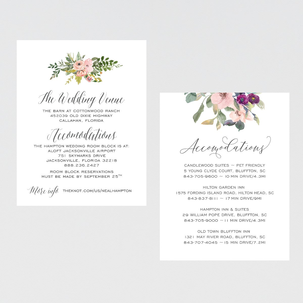 Image of DETAILS & ACCOMMODATIONS CARD