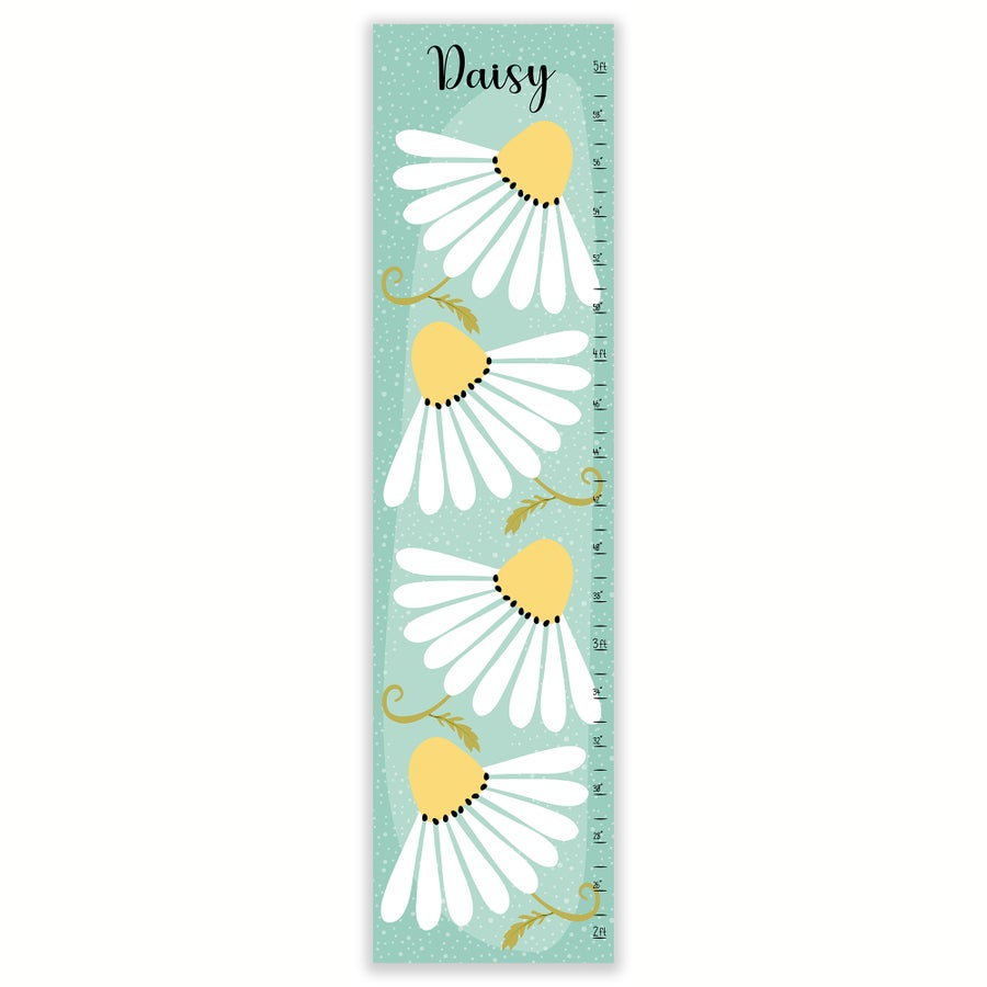 Image of Spring Daisy Personalized Canvas Growth Chart